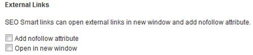 External Links – настройки для внешних ссылок. Настройка плагина SEO Smart Links.