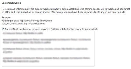 Custom Keywords. Настройка плагина SEO Smart Links.