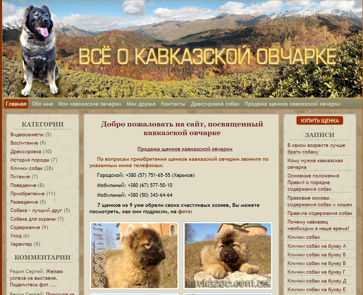 Создание сайта для владельца кавказских овчарок - kavkazec.com.ua