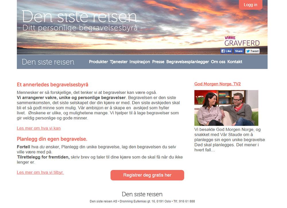 Создание сайта ритуальных услуг в Норвегии Den siste reisen