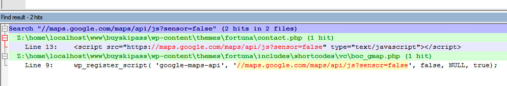 В шаблоне Fortuna нашлось 2 упоминания этого скрипта, он подключается в шорткодах, а так же на странице с шаблоном Контакты: