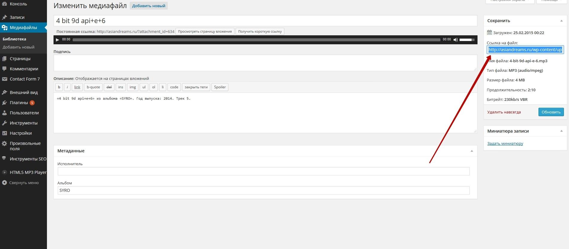 Жмем Изменить для того чтобы попасть на страницу файла и скопировать прямую ссылку к файлу