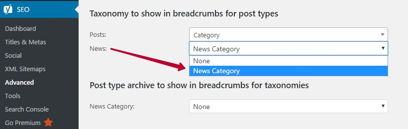 Taxonomy to show in breadcrumbs for post types