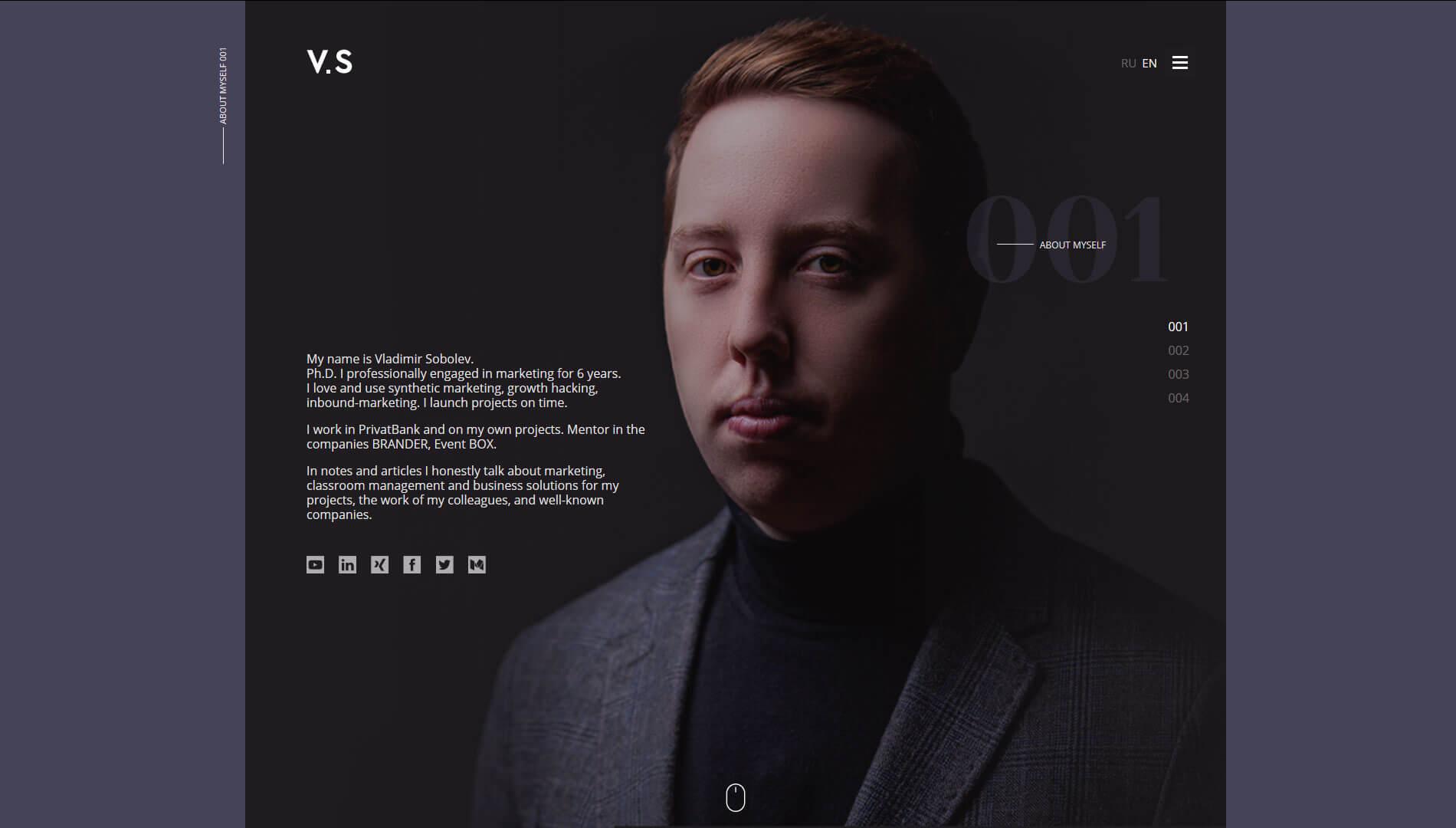 Создание сайта для маркетолога Vladimir Sobolev