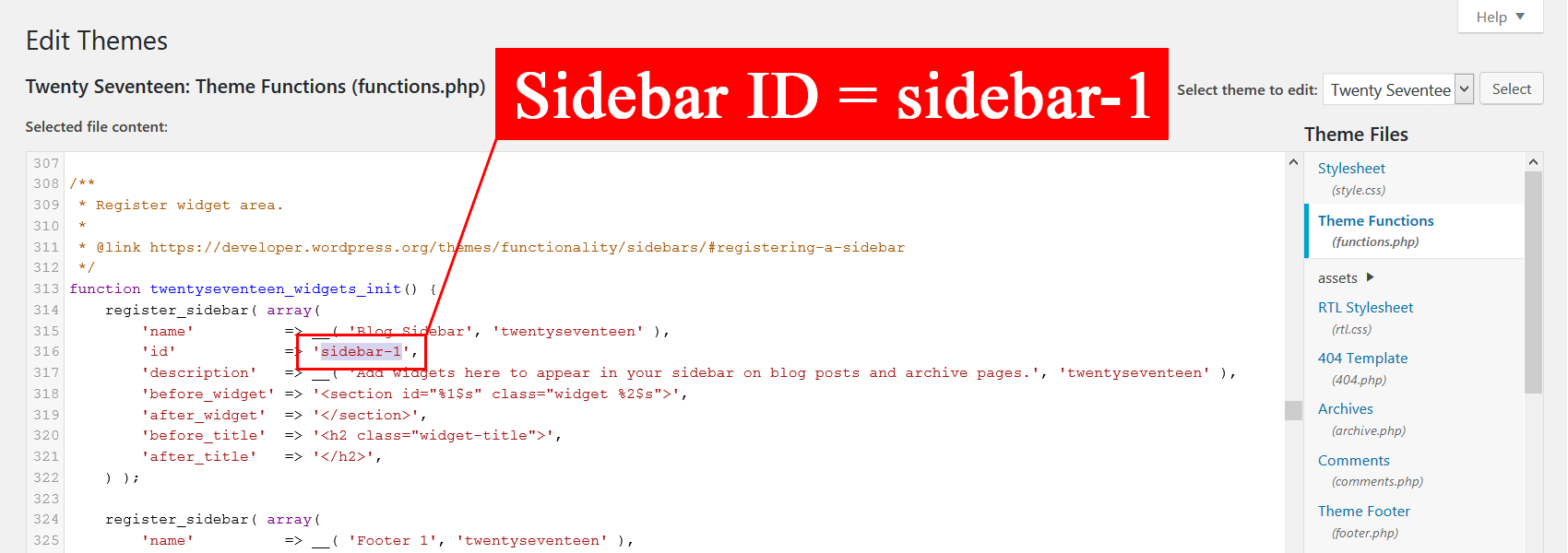 ID виджета можно узнать только в файлах шаблона внутри функций register_sidebar в файле functions.php: