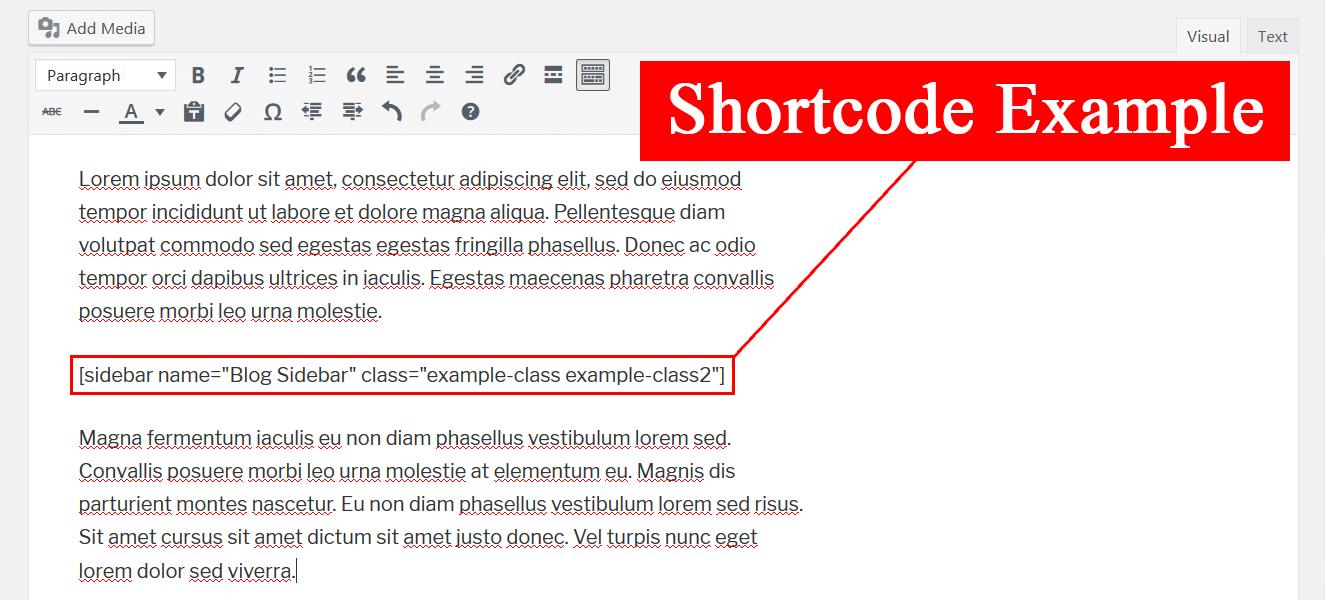 Пример вывода шорткода для вызова виджета внутри статьи с помощью плагина Sidebar Shortcode